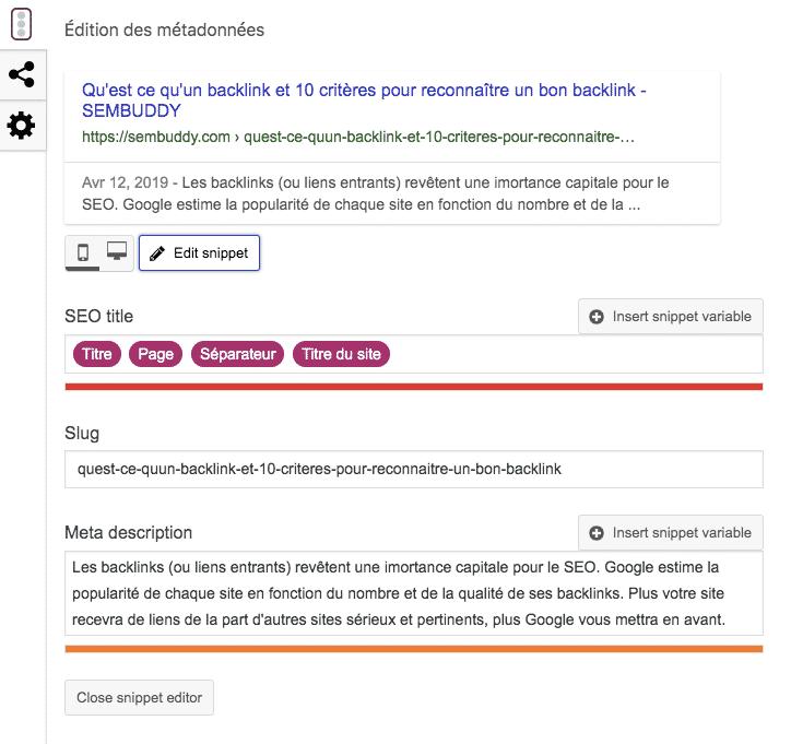 Exemple d'édition de slug et de meta-description Yoast